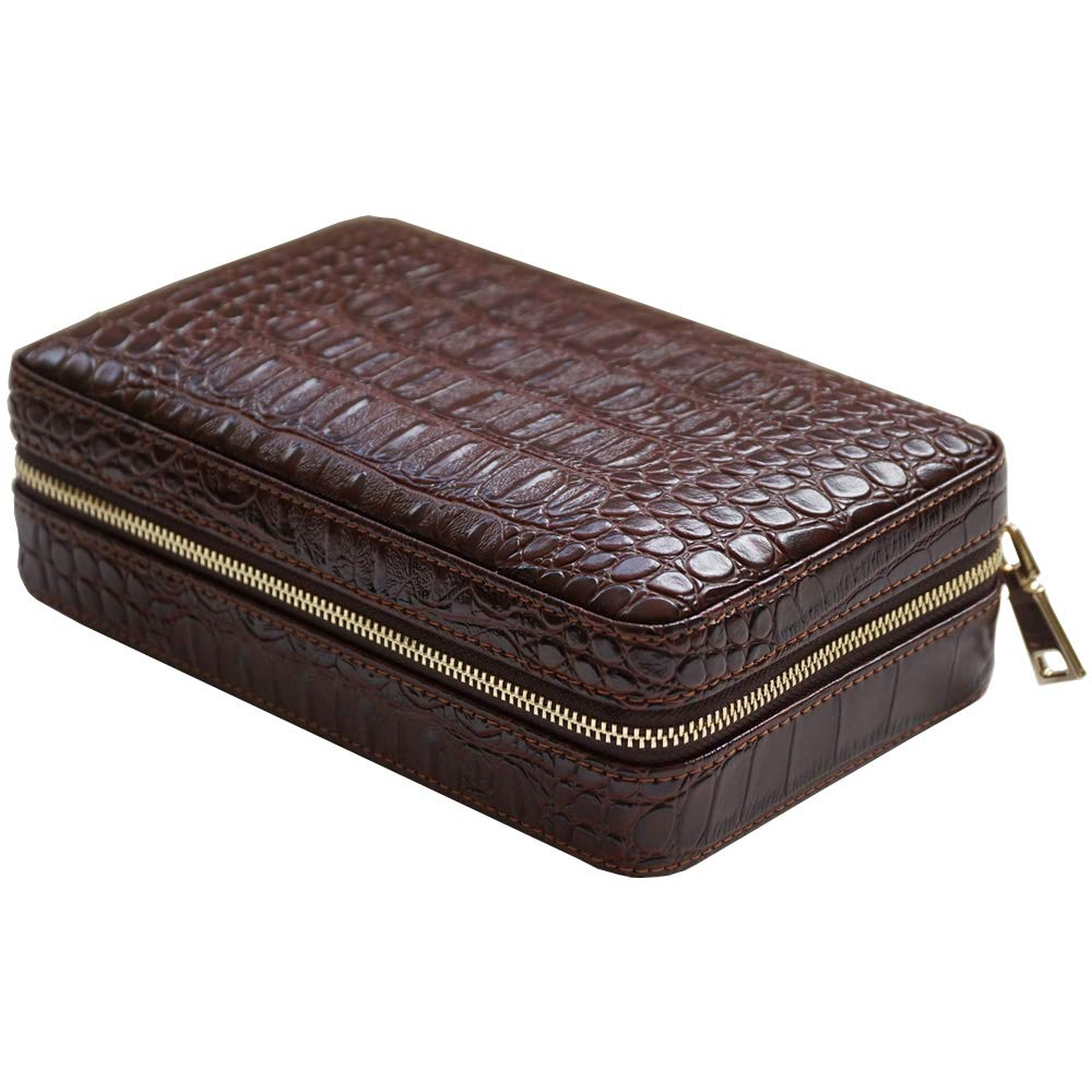 Coh Leather Travel Case with Cutter and Lighter - 4 Cigars - Including Humidification Kit - Color: Brown by H&H (Image #1)
