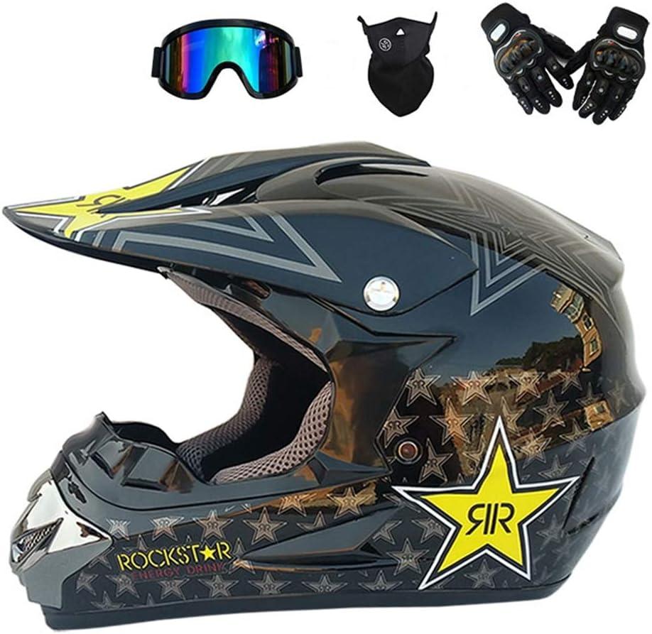 MRDEER® Profesional Casco de Motocross Adultos Casco Motocicleta Casco Conjunto Unisex Integral con Gafas, Guantes, mascarilla,Tamaño (S, M, L, XL)