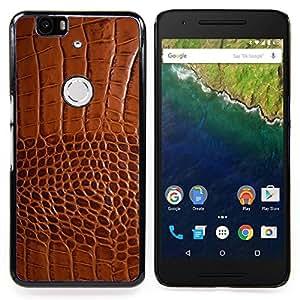 For Huawei Nexus 6P - Brown Leather Skin Imitation Faux Fabric /Modelo de la piel protectora de la cubierta del caso/ - Super Marley Shop -