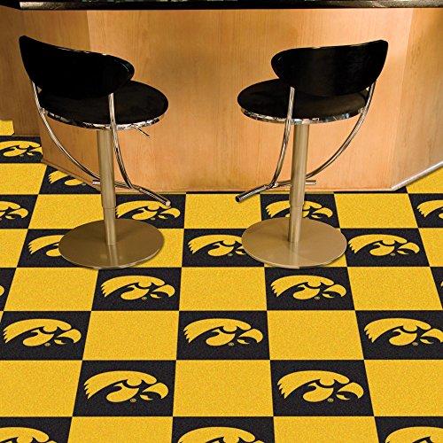 (FANMATS NCAA University of Iowa Hawkeyes Nylon Face Team Carpet Tiles)