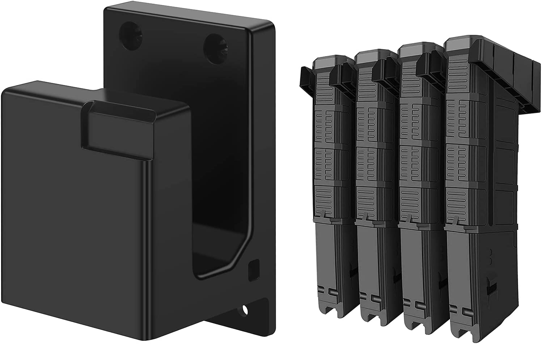 Apical Life AR-15 Gun Rack Wall Mount,4 PCS Standard PMAG Wall Mount,AR Rifle Wall Hanger & Splittable ABS Rifle Magazine Holder,Home Shotgun Storage Organization Hooks