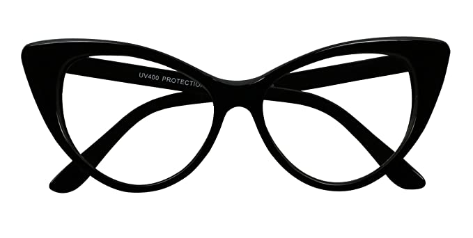 d3e6bc5079 Basik Eyewear - Super Cat Eye Vintage Inspired Fashion Mod Clear Lens  Sunglasses (Black Frame