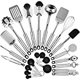 Kitchen Utensil Set Stainless Steel - Recipe E-BOOK by Maxi Chef - 23 Pc Cooking Utensils - Gift Kitchen Essentials - Home Kitchen Gadgets Tool Set