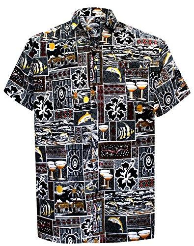 La Leela* Bouton Plage Manches Courtes Vers le Bas hawaien Chemise Aloha Occasionnel 6XL Noi