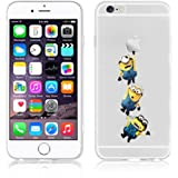 Disney PRINCESS ; MINIONS ; WINNIE ;trasparente in poliuretano termoplastico per iPhone-Cover per Apple iPhone 5, 5S, 5C, 6/6S , 6+,7(iphone 7,3Minions)
