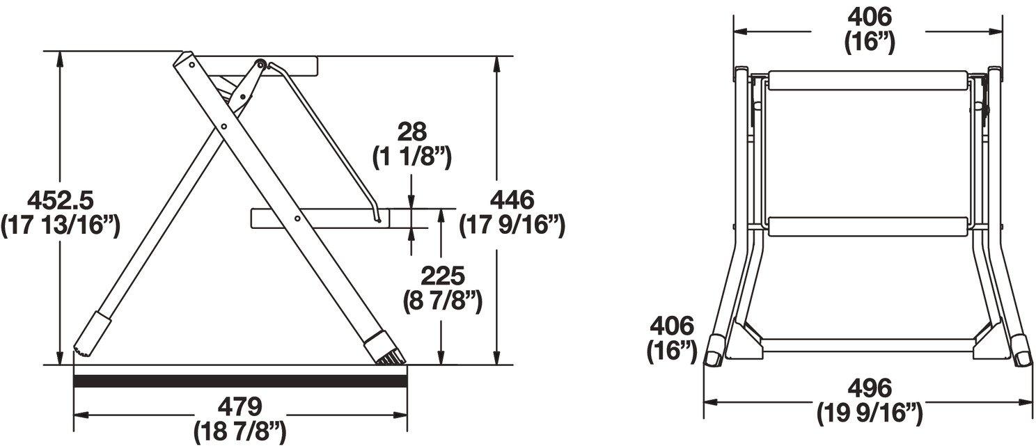 Hafele 2 Steps Stool, 220 lbs load capacity, 550x500x50mm, Folding, Gray by Hafele