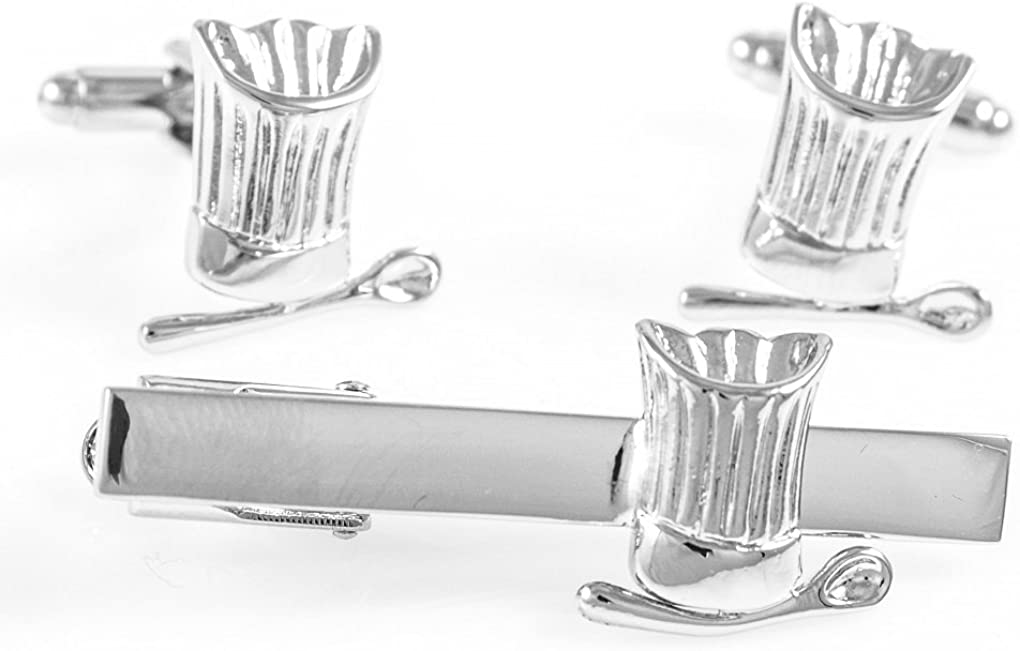 MRCUFF Chef Baker Hat Spoon Pair of Cufflinks /& Tie Bar Clip with Presentation Gift Box /& Polishing Cloth