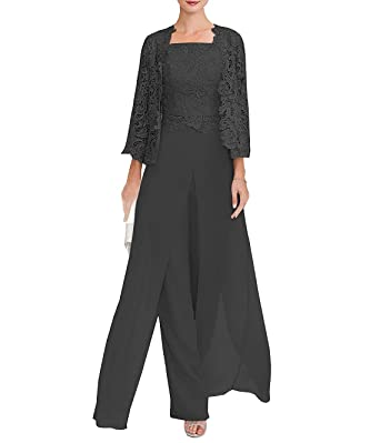 c9fad477069 CLOTHSURE Women s Lace Dress 3 Piece Mother of The Bride Pant Suits Long  Sleeve with Jacket