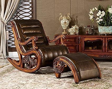 Ma Xiaoying balancín silla y reposapiés, madera maciza, tallado a ...