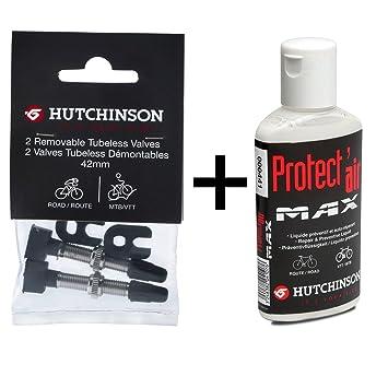 Hutchinson Valvulas Tubeless y Líquido Preventivo Antipinchazos para Cubiertas de Bicicleta