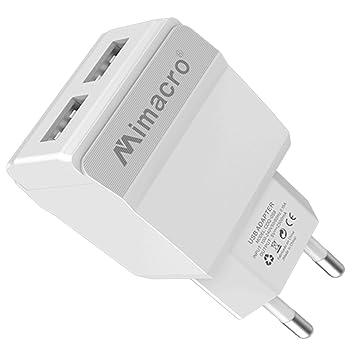 Mimacro - Cargador de Pared con 2 Puertos USB Color Blanco ...