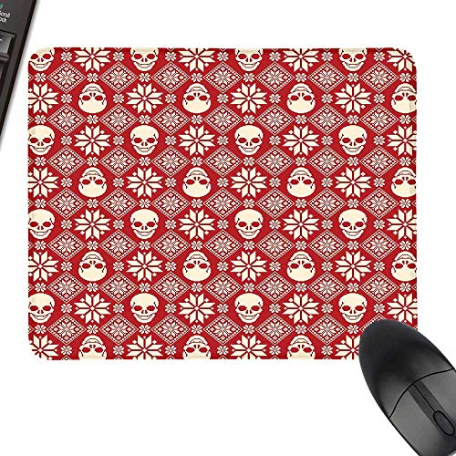 - Nordic Extra Large Mouse Pad Nordic Stitch Skull Pattern with Snowflakes and Floral Design Ornamental Knit Design with Stitched Edges 11.8