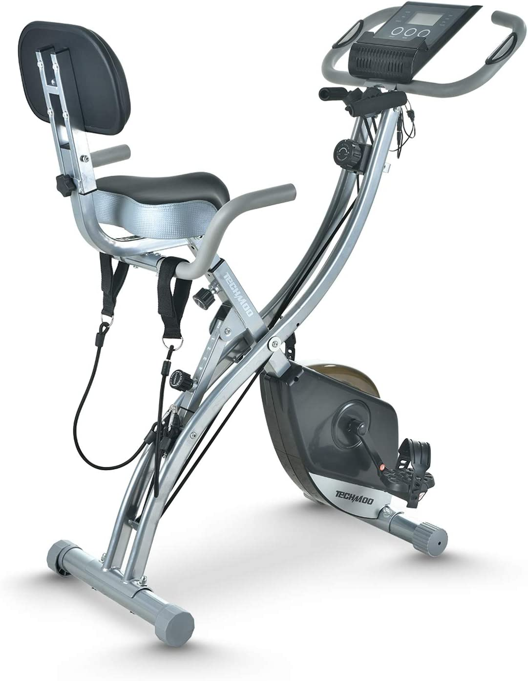 TECHMOO Folding Magnetic Stationary Exercise Bike Upright Recumbent Exercise Bike Folding Fitness Home X Exercise Bike Indoor Cycling Bike Bicycle for Workout Machine Cardio Workout Losing Weight