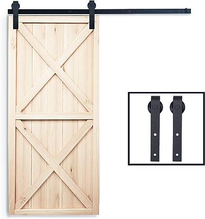 juego de rieles para puerta corredera para puerta individual Juego de herrajes para puerta corredera de madera de granero de 1,8 m