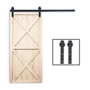 PENSON & CO. PBD001 FBA_SDHA023BK Sliding Barn Door Hardware Set Black 6.6 FT-Antique Style