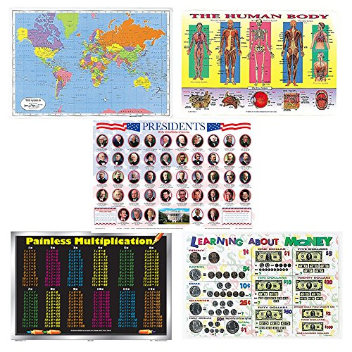 5 Laminated Educational Plastic Placemats for Kids Bundle - World Map, Human Body, Presidents (Includes Trump), Multiplication Table, Learning About Money