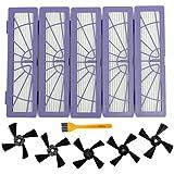 5 Brosses latérales et 5 Kit d'accessoires de remplacement de filtre à haute performance pour Neato Botvac Connecté Série D 70e 75 80 85 D75 D80 D85 D5 D3