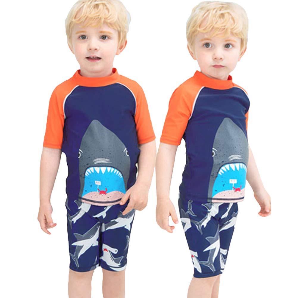 Digirlsor Kids Toddler Boys Two Piece Swimsuit Rash Guard Short Sleeve Quick Dry Swim Trunks Swimwear Set,2-11 Years