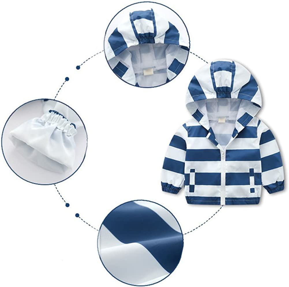 Happy childhood Baby Boys 1-6Y Rainbow Jacket Lightweight Breathable Raincoat Long Sleeve Hooded Outerwear