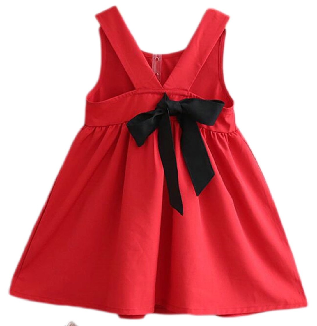 Yayu Little Girl Round Neck Casual Bow Backless Mini Dress Red 5T