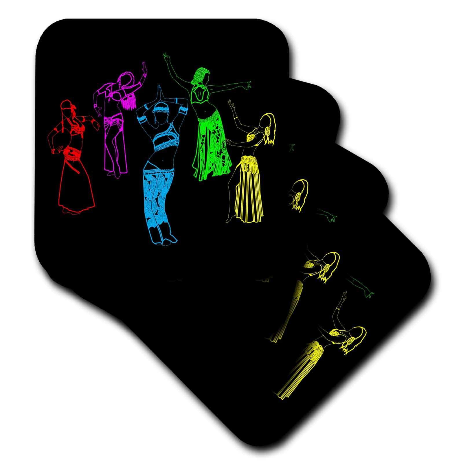 3dRose Alexis Design - Dance - Colorfully outlined silhouettes of oriental female dancers on black - set of 8 Coasters - Soft (cst_294607_2)