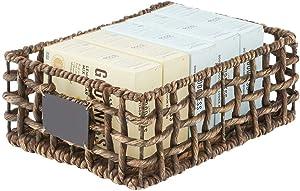 mDesign Water Hyacinth Open Weave Kitchen Cabinet Pantry Basket with Built-in Chalkboard Label for Snacks, Produce, Vegetables, Pasta - Food Safe - 16