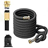 Garden Hose 75FT Expandable Water Hoses with Best Abrasion Resistance and Tension & 5000D Stronger fiber Triple Layer Latex Expandable Garden Hoses for All Your Watering Needs (75)