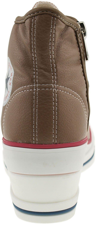 Maxstar Women's 7H Zipper Low Wedge Heel Sneakers B00COWNIUQ 6 B(M) US|Pu-brown