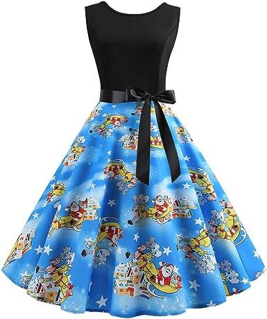CLOOM Sexy Pin Up Falda Plisada Casual Impresión Vestido De Fiesta ...