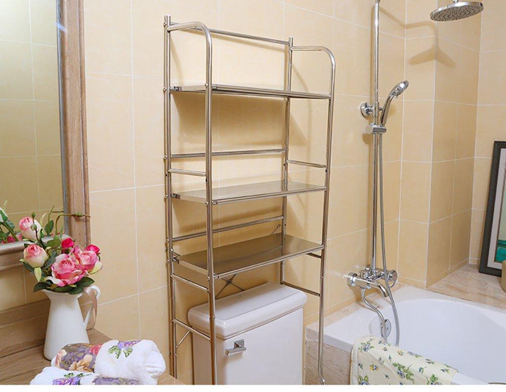 Rack de toilette en acier inoxydable Porte-bagages Rack de rangement Divers Type de plancher Trois couches