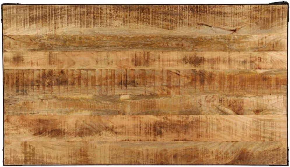 140 x 80 x 76 cm UnfadeMemory Esszimmertisch Esstisch K/üchentisch Mango-Massivholz Tischplatte Starker Eisenrahmen Industrie-Stil Esszimmer Holztisch Wohnzimmer Tisch