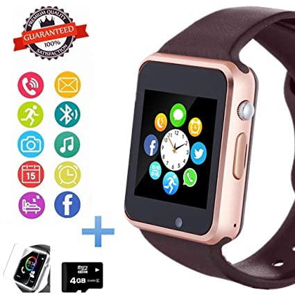 Smart Watch Phone, Smartwatch with Camera Pedometer Call Text SNS Sync SIM Card Slot TF Card Music Player Alarm Compatible with Android and iPhone ...