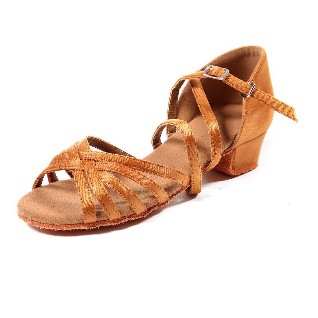 DoGeek Chausson Danse Latine 2.7cm Chaussure de Danse Latine Sandales pour la Danse Latine/Moderne / Samba/Chacha/Corrida Légères Lanière de Cheville Boucle Chaussures FR-DG-G-latinshoes
