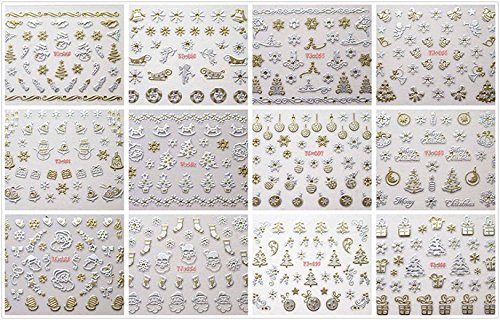 GGSELL Merrry Christmas silver and gold nail stickers, it including Santa Claus,gift,snow,christmas tree and candy,deer,snowman,stars,socks,etc.