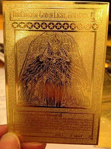 Yugioh The Creator God of Light, Horakhty custom Golden Metal Card English New ()
