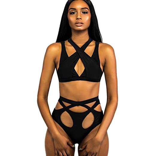 797a887482 Amazon.com  Minisoya Women Cut Out Bikini Set Push-up Padded Bra Bandage  Swimsuit Strappy Hollow Swimwear Bathing Suit Beachwear  Clothing