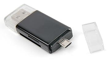 DURAGADGET Lector De Tarjetas ¡2 En 1! Memoria SD/MicroSD + USB 2.0 + MicroUSB Transferir Fotos O Datos Entre Su Smartphone Y Su Portátil