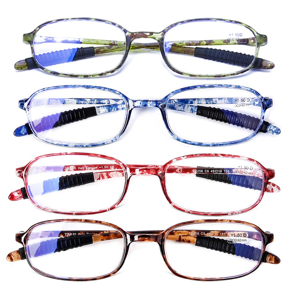 AQWANO 4 Pack Computer Reading Glasses Blue Light Blocking Lightweight TR90 Flexible Frame UV Protection Readers for Women Men +2.0