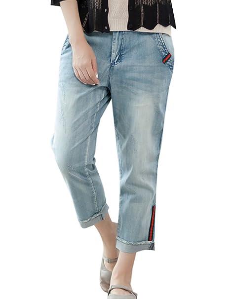Youlee Damen Coole Jeans Haremshose mit Taschen Style 3 S