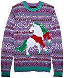Blizzard Bay Men's Santa Suit Unicorn Ugly Christmas Sweater, purple, X-Large
