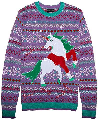 Blizzard Bay Men's Santa Suit Unicorn Ugly Christmas Sweater, purple, X-Large -