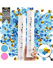 Premium Gender Reveal Confetti Cannon - Set of 2 - Biodegradable Heart Shaped Confetti in Pink or Blue, for Gender Reveal Decorations and Baby Gender Reveal Party Supplies with Gender Reveal Cannons