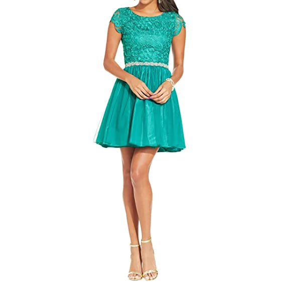 As U Wish Womens Juniors Crochet Embellished Semi-Formal Dress Green 13
