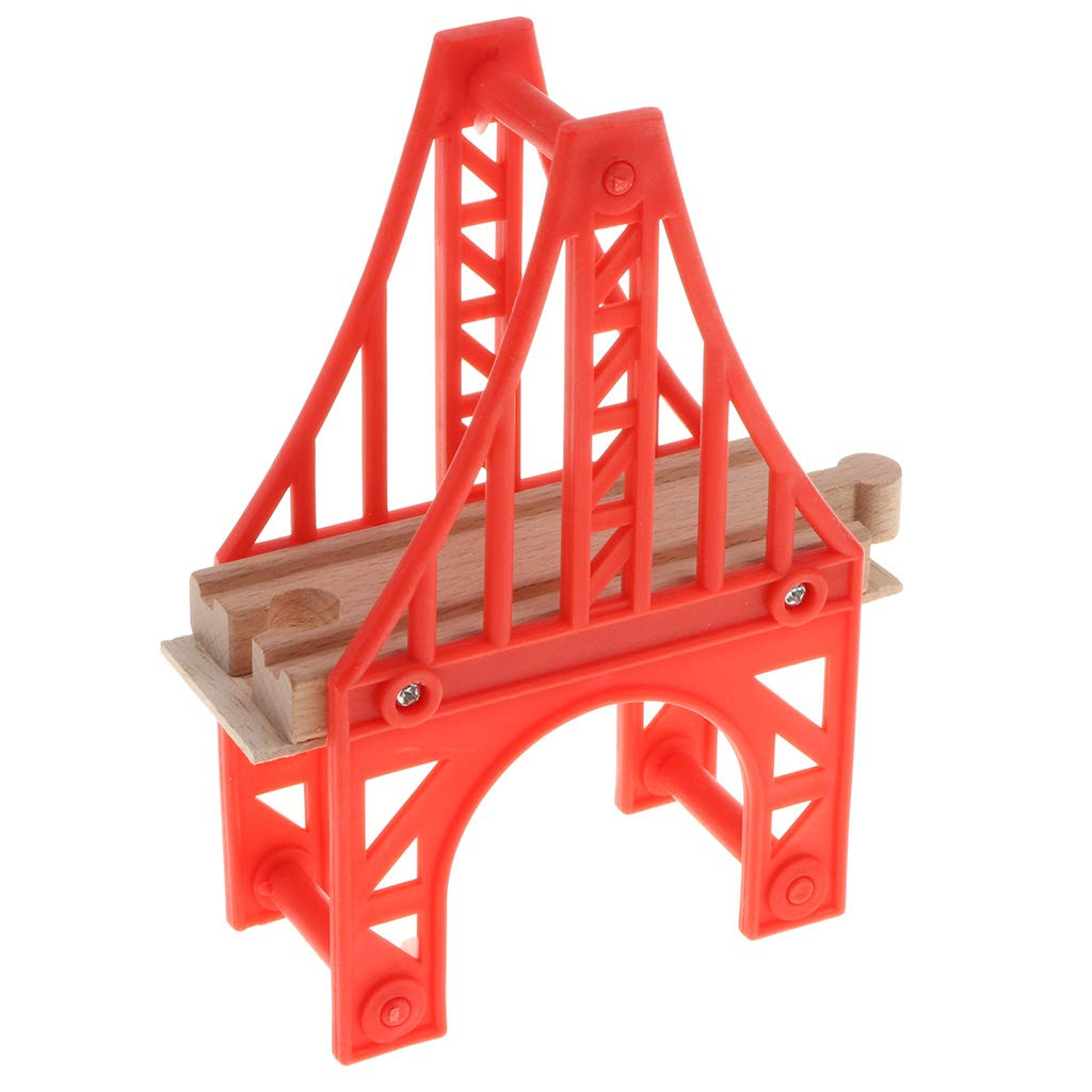 Homyl Excellent Crafted Wooden Trains Track Building City Traffic Scene Model Building Accessories Kids Educational Toy Iron Tower Bridge