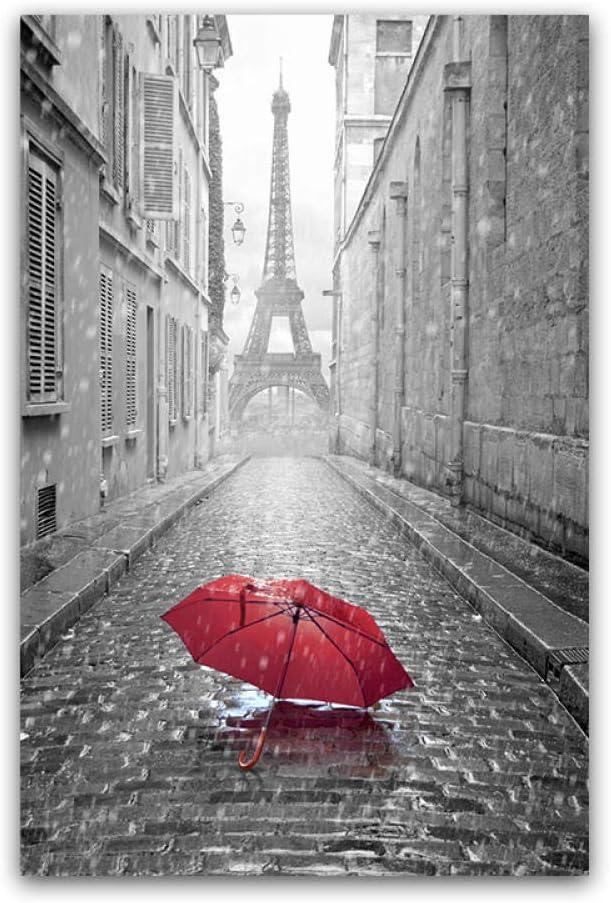 ZJMI Impresión De Lienzo,La Sombrilla Roja Torre De París Carteles Cuadros Decoración De Pared Impresión Lienzo De Arte Moderno Salón Pintura para La Decoración del Hogar Sin Marco