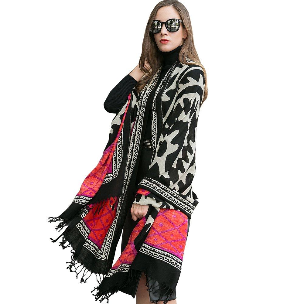 DANA XU 100% Pure Wool Women Winter Large Size Pashmina Travel Shawl (Red) by DANA XU (Image #7)