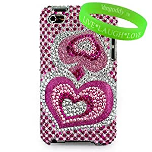 Rare Designer Pink Glitter Heart Rhinestone Jewel Two Piece Diamond Crystal Case Hard Cover for iTouch 4 Snap on Case for Apple iPod Touch 4th generation (16gb , 32gb) + Live * Laugh * Love Vangoddy Wrist Band!!!