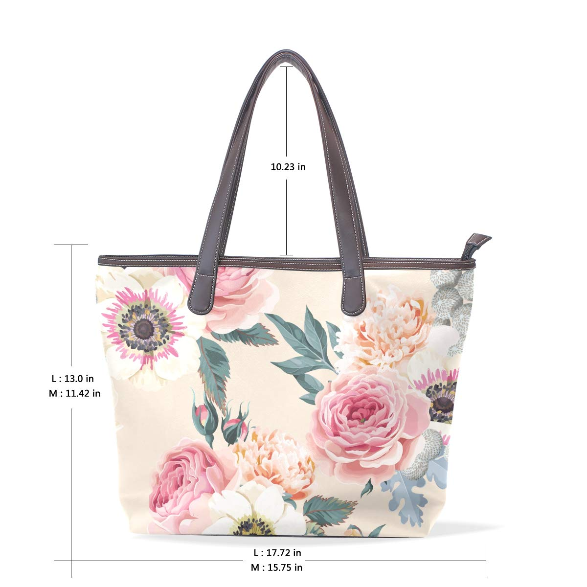 Pink Wild Fresh Peony Flowers Womens Leather Handbag Shoulder Bag Satchel Handbags Leather Tote Purse Women Handle Handbags