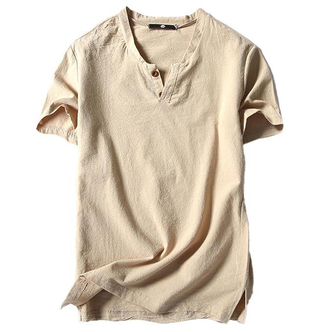 Herren Baumwoll Leinen Hoodie T-Shirt Sommer Kapuzen Shirt Hemd Bluse Solid Top
