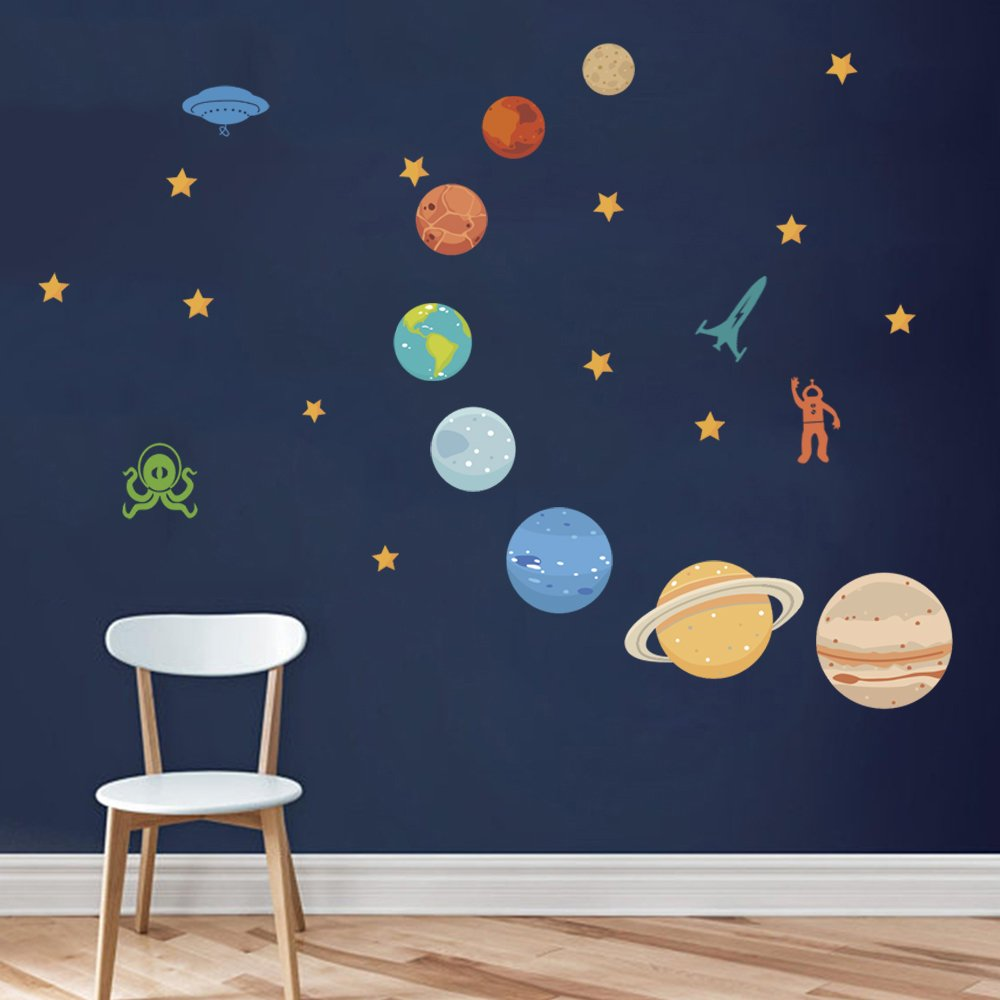 DecalMile Planets in the Space Wall Decals Solar System Kids Wall Stickers Peel and Stick Removable Vinyl Wall Art for Kids Bedroom Nursery Baby Room Classroom Yanfeng